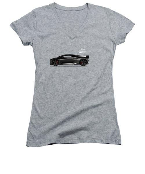 Lamborghini Sesto Elemento Women's V-Neck T-Shirt (Junior Cut) by Mark Rogan