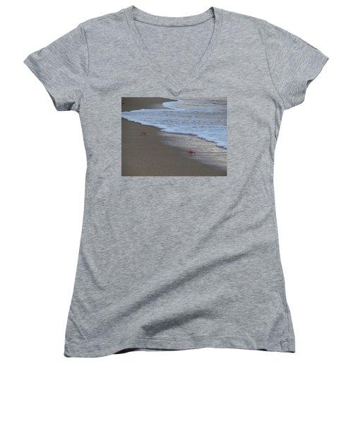 Lamu Island - Crabs Playing At Sunset 4 Women's V-Neck T-Shirt