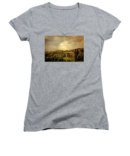 Women's V-Neck T-Shirt (Junior Cut) featuring the photograph Lancing College by Chris Lord