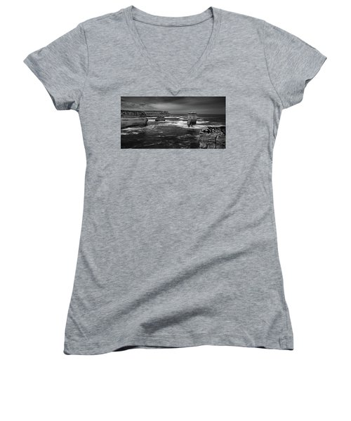 Land And Sea Women's V-Neck T-Shirt (Junior Cut) by Mark Lucey