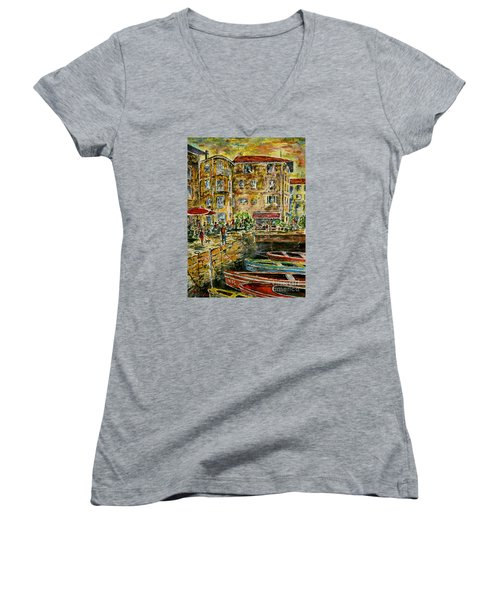 Land And Water And People Therebetween Women's V-Neck T-Shirt (Junior Cut) by Alfred Motzer