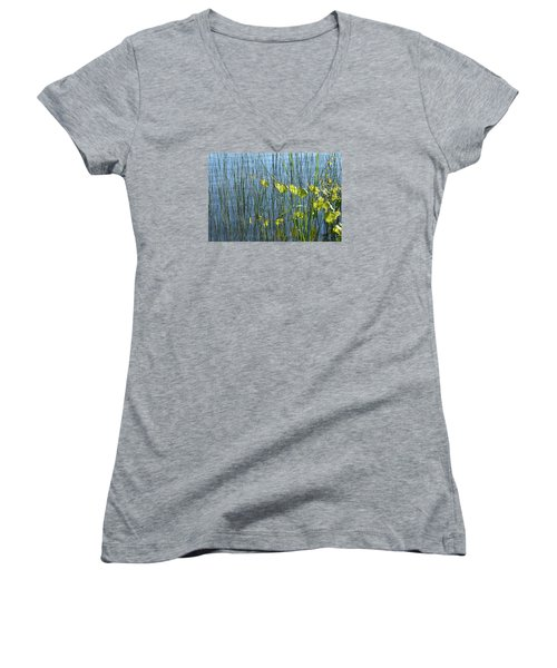 Land And Water Plants  Women's V-Neck T-Shirt (Junior Cut) by Lyle Crump