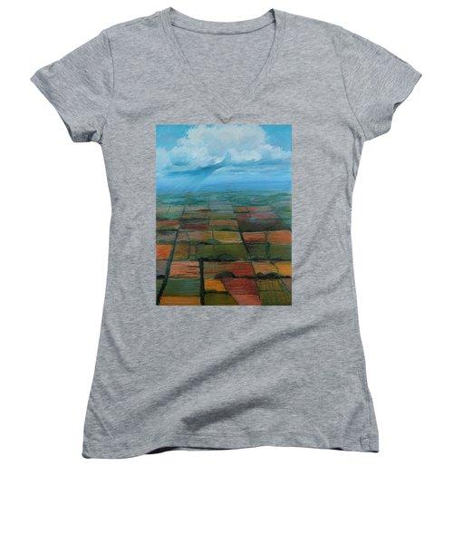 Land Art Women's V-Neck T-Shirt (Junior Cut)