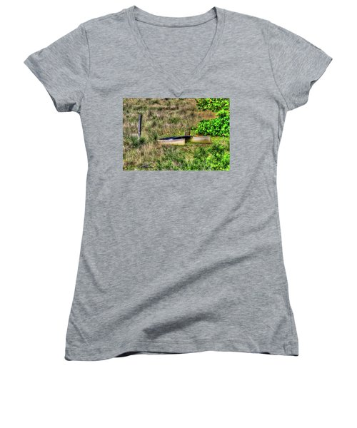 Women's V-Neck T-Shirt (Junior Cut) featuring the photograph Land Locked by Tom Prendergast