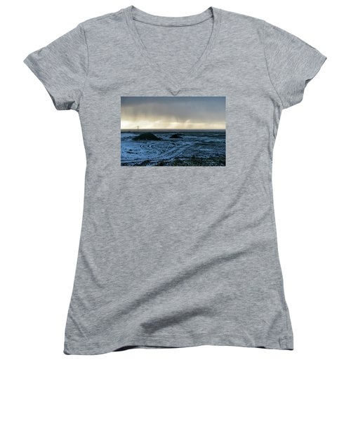 Women's V-Neck T-Shirt featuring the photograph land of Lava by Dubi Roman