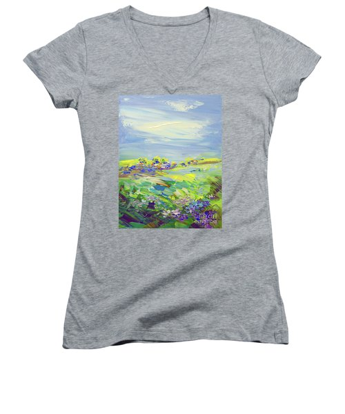Land Of Milk And Honey Women's V-Neck T-Shirt (Junior Cut) by Tatiana Iliina