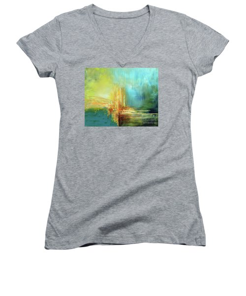 Women's V-Neck T-Shirt (Junior Cut) featuring the painting Land Of Oz by Tatiana Iliina