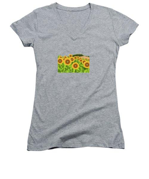 Land Of Sunflowers. Women's V-Neck T-Shirt (Junior Cut) by Absentis Designs