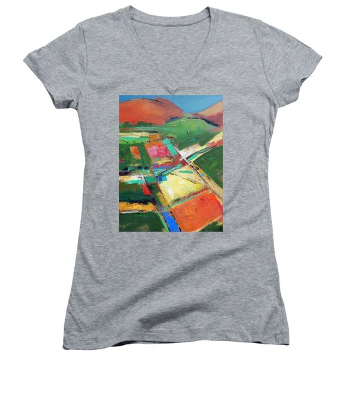 Land Patches Women's V-Neck T-Shirt (Junior Cut) by Gary Coleman
