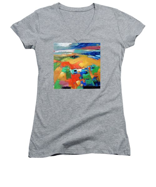 Women's V-Neck T-Shirt (Junior Cut) featuring the painting Landforms, Suggestion Of A Memory by Gary Coleman