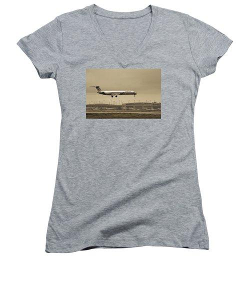 Landing At Dfw Airport Women's V-Neck T-Shirt