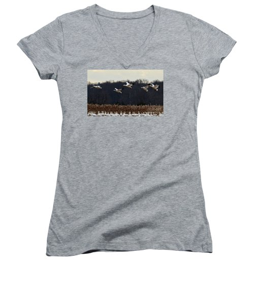 Women's V-Neck T-Shirt (Junior Cut) featuring the photograph Landing by Tamera James