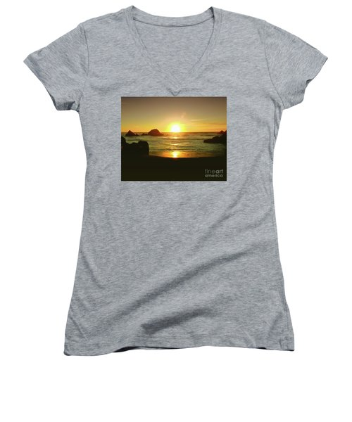 Lands End Sunset-the Golden Hour Women's V-Neck (Athletic Fit)
