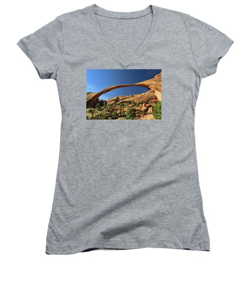 Women's V-Neck T-Shirt (Junior Cut) featuring the photograph Landscape Arch by Dana Sohr