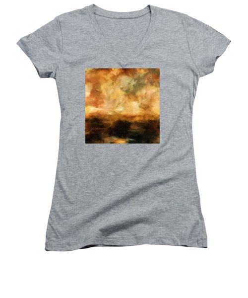 Landscape At Sunset Women's V-Neck