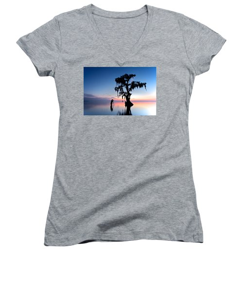 Women's V-Neck T-Shirt (Junior Cut) featuring the photograph Landscape Backstage by Evgeny Vasenev