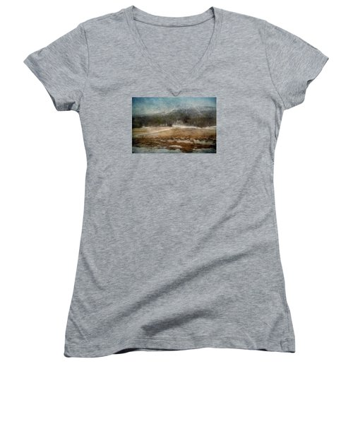 Landscape From Norway Women's V-Neck T-Shirt (Junior Cut) by Vittorio Chiampan