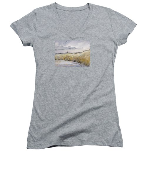 Landscape In Gray Women's V-Neck (Athletic Fit)