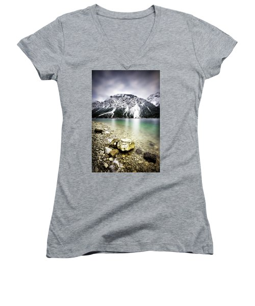 Landscape Of Plansee Lake And Alps Mountains During Winter, Snowy View, Tyrol, Austria. Women's V-Neck T-Shirt
