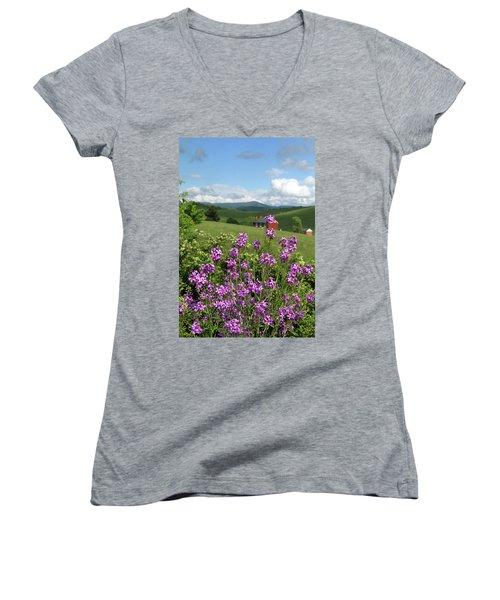 Landscape With Purple Flowers Women's V-Neck (Athletic Fit)