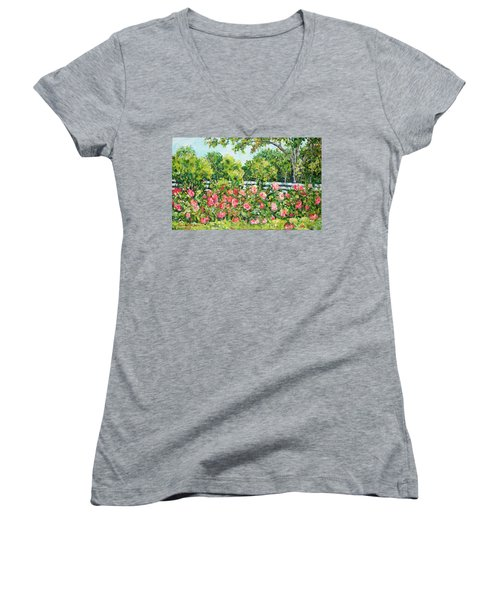 Landscape With Roses Fence Women's V-Neck