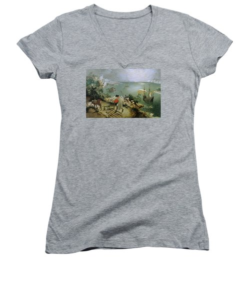 Landscape With The Fall Of Icarus Women's V-Neck