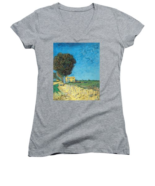 Women's V-Neck featuring the painting Lane Near Arles by Van Gogh