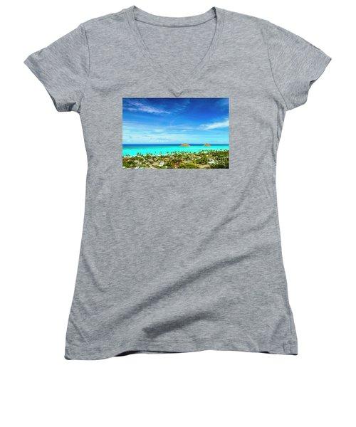 Lanikai Beach From The Pillbox Trail Women's V-Neck T-Shirt (Junior Cut) by Aloha Art