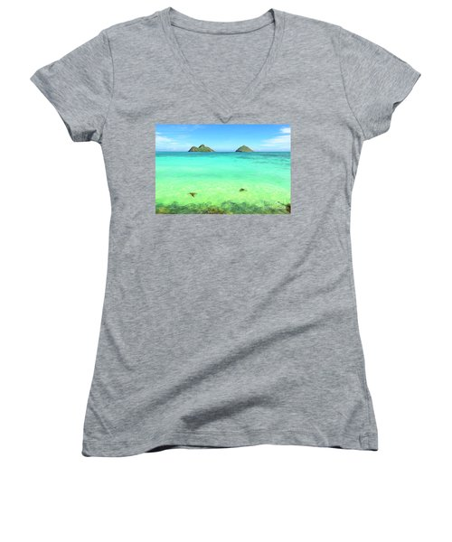 Lanikai Beach Two Sea Turtles And Two Mokes Women's V-Neck T-Shirt (Junior Cut) by Aloha Art
