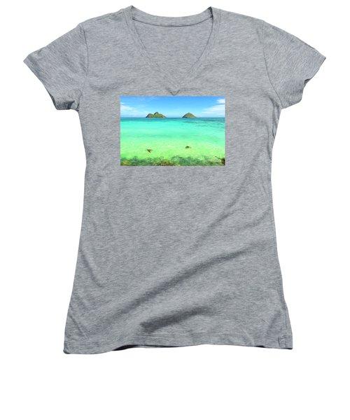 Lanikai Beach Two Sea Turtles And Two Mokes Women's V-Neck T-Shirt
