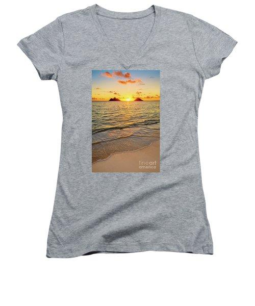 Lanikai Sunrise Between The Mokes Women's V-Neck T-Shirt