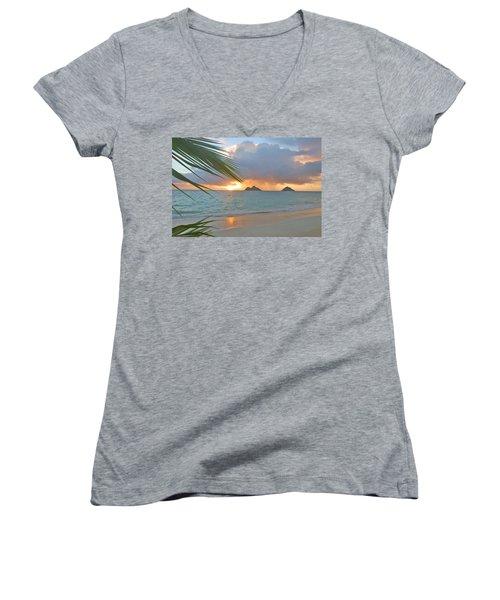 Lanikai Sunrise Women's V-Neck T-Shirt