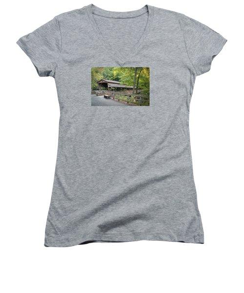 Lanterman's Mill Covered Bridge Women's V-Neck T-Shirt