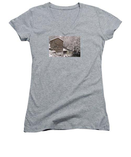 Lanterman's Mill Women's V-Neck T-Shirt (Junior Cut) by Michael McGowan