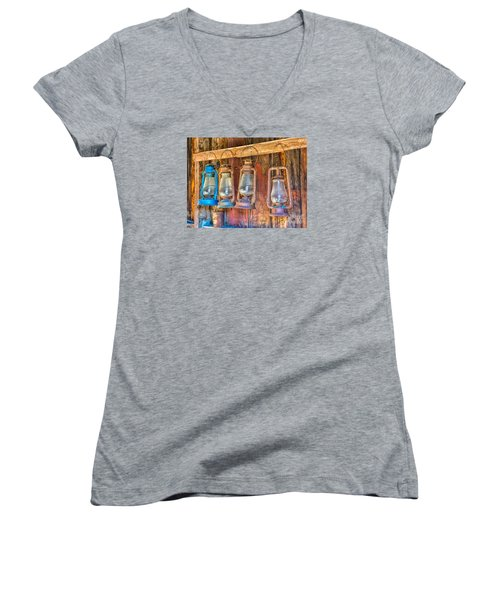 Lanterns In The Bodie Firehouse Women's V-Neck T-Shirt