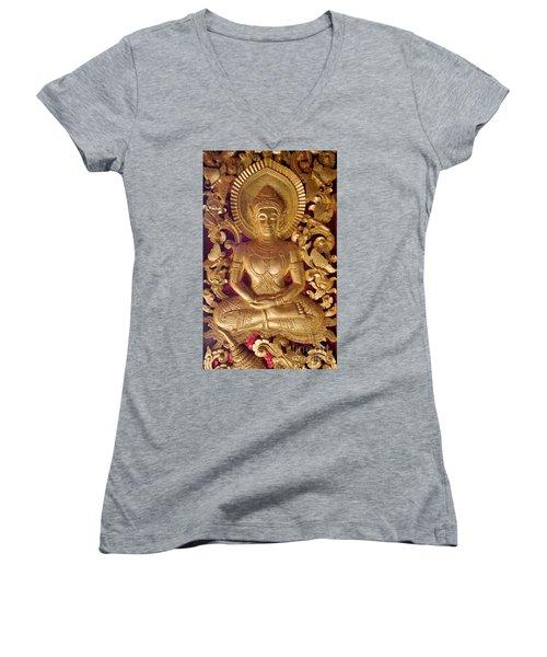 Laos_d264 Women's V-Neck T-Shirt (Junior Cut) by Craig Lovell