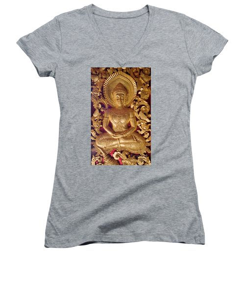Laos_d264 Women's V-Neck T-Shirt