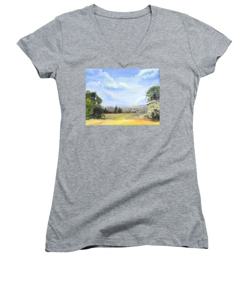 Women's V-Neck T-Shirt (Junior Cut) featuring the painting Lapoint Utah by Jane Autry