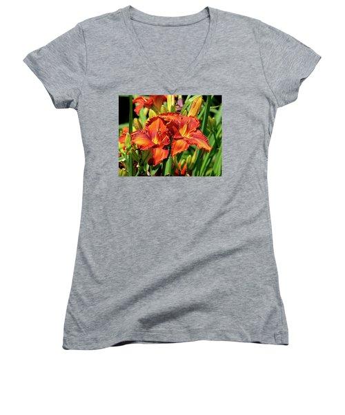 Large Deep Orange Tiger Lilys Women's V-Neck