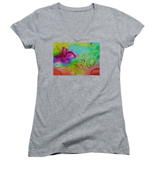 Large Flower 2 Women's V-Neck