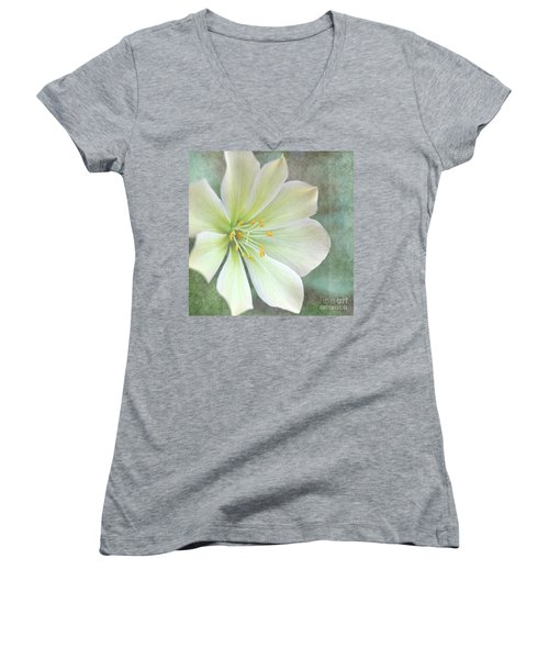 Women's V-Neck T-Shirt (Junior Cut) featuring the pyrography Large Flower by Lyn Randle