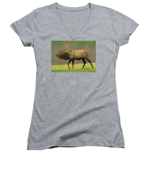 Large Pennsylvania Bull Elk. Women's V-Neck