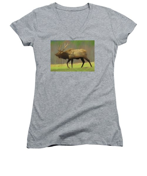 Large Pennsylvania Bull Elk. Women's V-Neck (Athletic Fit)
