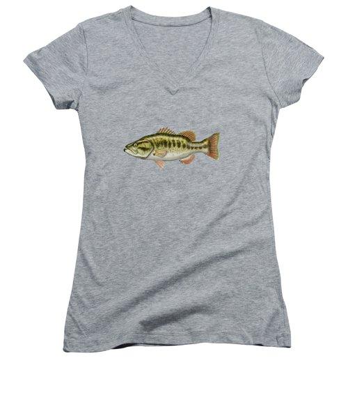 Largemouth Bass Women's V-Neck T-Shirt (Junior Cut) by Serge Averbukh