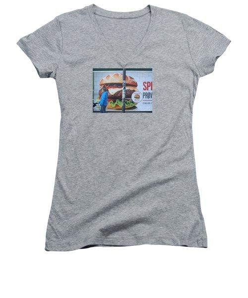 Larger Than Life Women's V-Neck T-Shirt (Junior Cut) by Margaret Brooks
