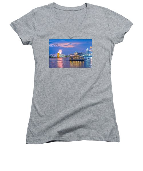 Laser Show Over Paul Brown Stadium  Women's V-Neck T-Shirt (Junior Cut) by Randall Branham