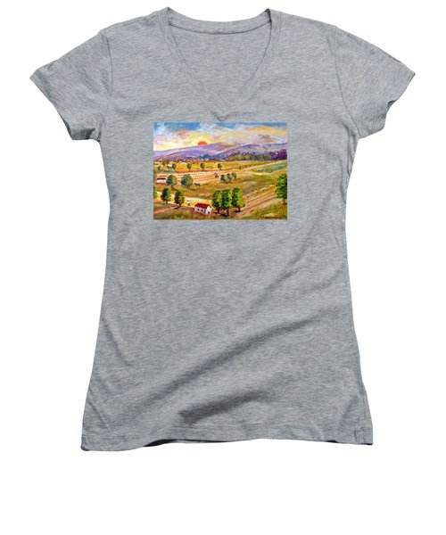 Lasithi Valley In Greece Women's V-Neck (Athletic Fit)