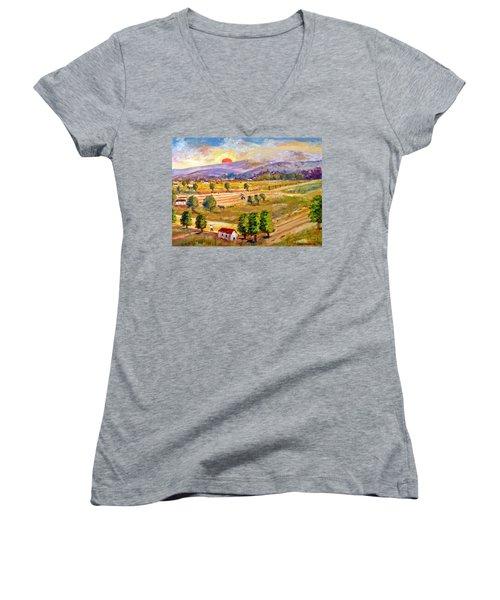 Lasithi Valley In Greece Women's V-Neck T-Shirt