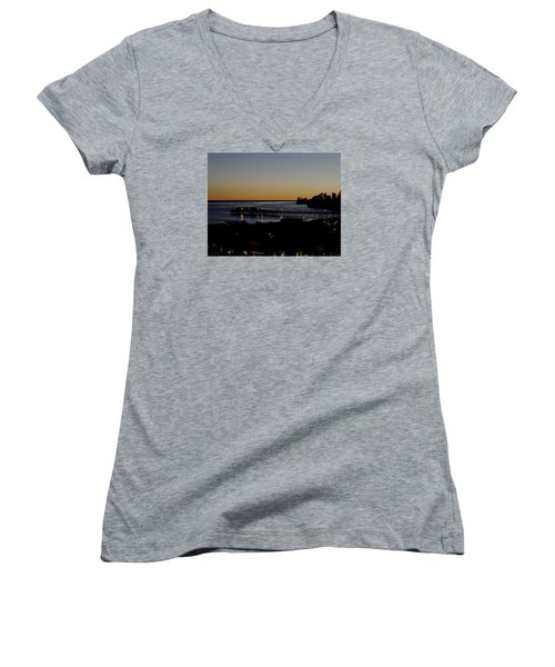 Women's V-Neck T-Shirt (Junior Cut) featuring the photograph Last 2015 Sunset by Lora Lee Chapman