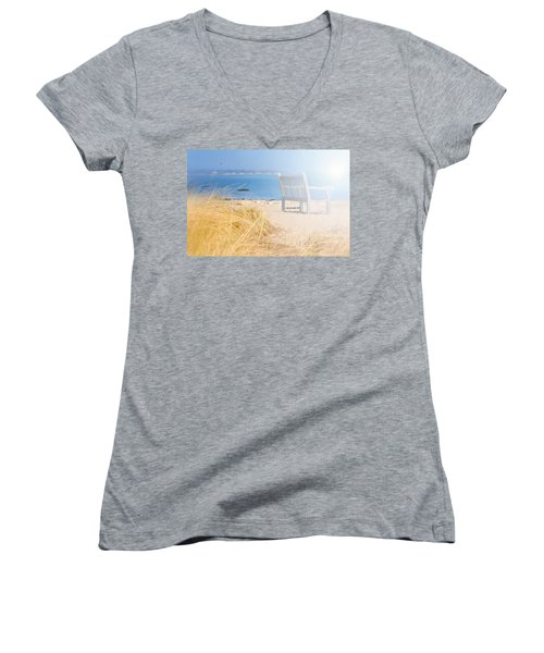 Last Breadth Of Summer Women's V-Neck T-Shirt (Junior Cut) by Diana Angstadt
